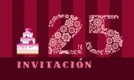 Invitación a la celebración, 25 años, torta de la baya, español, vector stock de ilustración