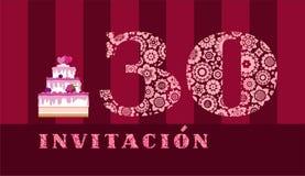 Invitación a la celebración, 30 años, torta de la baya, español, vector ilustración del vector