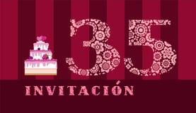 Invitación a la celebración, 35 años, torta de la baya, español, vector ilustración del vector