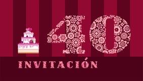 Invitación a la celebración, 40 años, torta de la baya, español, vector libre illustration