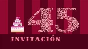 Invitación a la celebración, 45 años, torta de la baya, español, vector ilustración del vector