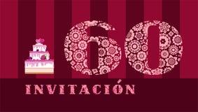 Invitación a la celebración, 60 años, torta de la baya, español, vector stock de ilustración