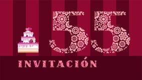 Invitación a la celebración, 55 años, torta de la baya, español, vector ilustración del vector
