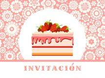 Invitación a la celebración, torta de la fresa, español, rosa, floral, vector libre illustration