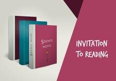 Invitación a leer la tarjeta Plantilla del diseño de la biblioteca Foto de archivo