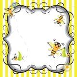 Invitación linda del partido de ducha de bebé de la abeja imagenes de archivo