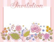 Invitación, marco con las flores, rayas de la lila, vector Foto de archivo libre de regalías
