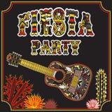 Invitación mexicana del partido de la fiesta con la guitarra mexicana, los cactus y título adornado tribal étnico colorido Illust Imagen de archivo libre de regalías