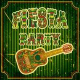 Invitación mexicana del partido de la fiesta con la guitarra mexicana y el título adornado tribal étnico colorido Cartel dibujado stock de ilustración