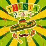 Invitación mexicana del partido de la fiesta con maracas, el sombrero y el bigote Cartel dibujado mano del ejemplo del vector Imagen de archivo