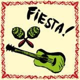 Invitación mexicana del partido de la fiesta con maracas, el sombrero y el guita Fotografía de archivo libre de regalías