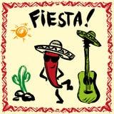 Invitación mexicana del partido de la fiesta con maracas, el sombrero y el guita Fotos de archivo