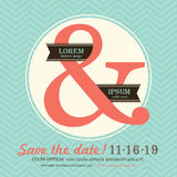 Invitación moderna de la boda del signo '&' con el fondo del galón Foto de archivo libre de regalías