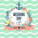 Invitación náutica del día de boda imagenes de archivo