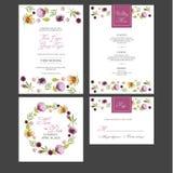 Invitación nupcial de la tarjeta de la ducha con las flores de la acuarela Foto de archivo libre de regalías