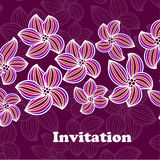 Invitación o invitación de boda con Ba floral abstracto Imagenes de archivo