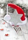 Invitación para la cena de la Navidad Fotos de archivo