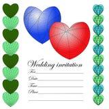 Invitación para una boda en el estilo de un zenart, colore de los corazones stock de ilustración