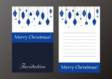 Invitación retra de la Navidad Fotos de archivo