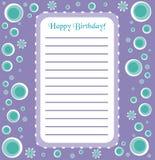 Invitación retra del feliz cumpleaños Imágenes de archivo libres de regalías