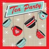 Invitación retra del partido de té Imagen de archivo libre de regalías