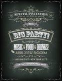Invitación retra del partido en la pizarra Imagen de archivo libre de regalías