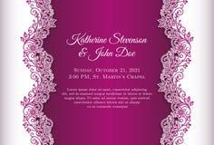 Invitación romántica de la boda con el fondo azul a Fotos de archivo libres de regalías