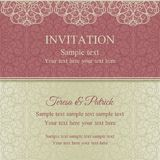 Invitación, rosa y beige barrocos Foto de archivo