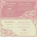 Invitación, rosa y beige barrocos Foto de archivo libre de regalías