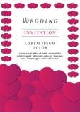 Invitación rosada floral clásica de la boda del ciervo del color imágenes de archivo libres de regalías