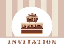 Invitación, torta de chocolate, gris, rayado, vector Fotografía de archivo