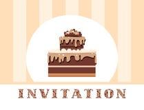 Invitación, torta de chocolate, rayas amarillas, vector Fotografía de archivo libre de regalías