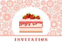 Invitación, torta de la fresa, rosa blanco, fondo floral, vector Imagen de archivo