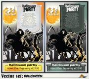Invitación a un partido en honor de un día de fiesta Halloween Foto de archivo libre de regalías