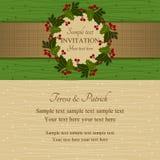 Invitación, verde y beige de la Navidad Imagen de archivo libre de regalías