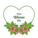 Invitaci?n de la tarjeta del ejemplo del vector de los d?as felices de las mujeres para el rosa de la flor del marco con el conte stock de ilustración