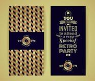 Invitación al partido retro Fondo geométrico retro del vintage Fotografía de archivo