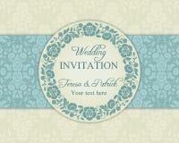 Invitación, azul y beige barrocos de la boda Imagenes de archivo