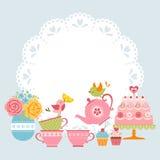 Invitación del partido de té Imagenes de archivo