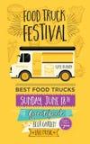 Invitación del partido del camión de la comida Diseño de la plantilla del menú de la comida Mosca de la comida Fotografía de archivo libre de regalías