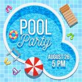 Invitación del partido del verano con la plantilla del vector de la piscina Foto de archivo