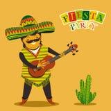 Invitación mexicana del partido de la fiesta con el hombre mexicano que toca la guitarra en un sombrero y un cactuse Posts dibuja Foto de archivo libre de regalías