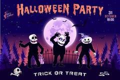Invitación a un partido de Halloween, el ejemplo horizontal de tres zombis Fotos de archivo libres de regalías