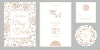 Invitaciones, agradezca le, las tarjetas de las plantillas del rsvp y la cubierta con flujo ilustración del vector