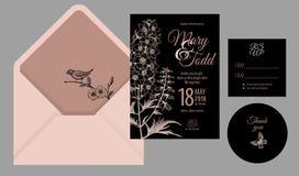 Invitaciones, agradezca le, las tarjetas de las plantillas del rsvp y la cubierta con flujo stock de ilustración