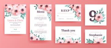 Invitaciones apacibles para una boda con las flores rosadas ilustración del vector