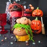 Invitaciones coloridas para Halloween Imágenes de archivo libres de regalías
