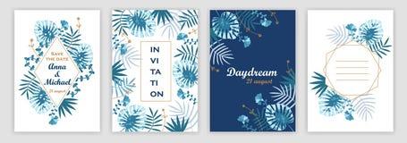invitaciones de la boda con un modelo tropical cubiertas fijadas libre illustration