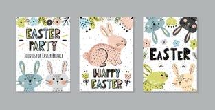 Invitaciones de Pascua y sistema lindos de las tarjetas de felicitación libre illustration