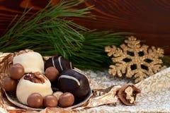 Invitaciones del postre del chocolate para el día de fiesta Imágenes de archivo libres de regalías